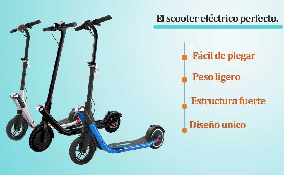 Patinete Eléctricoplegable Scooter eléctrico,250 W E-Scooter, Ruedas antirreventón Tubeless de 8