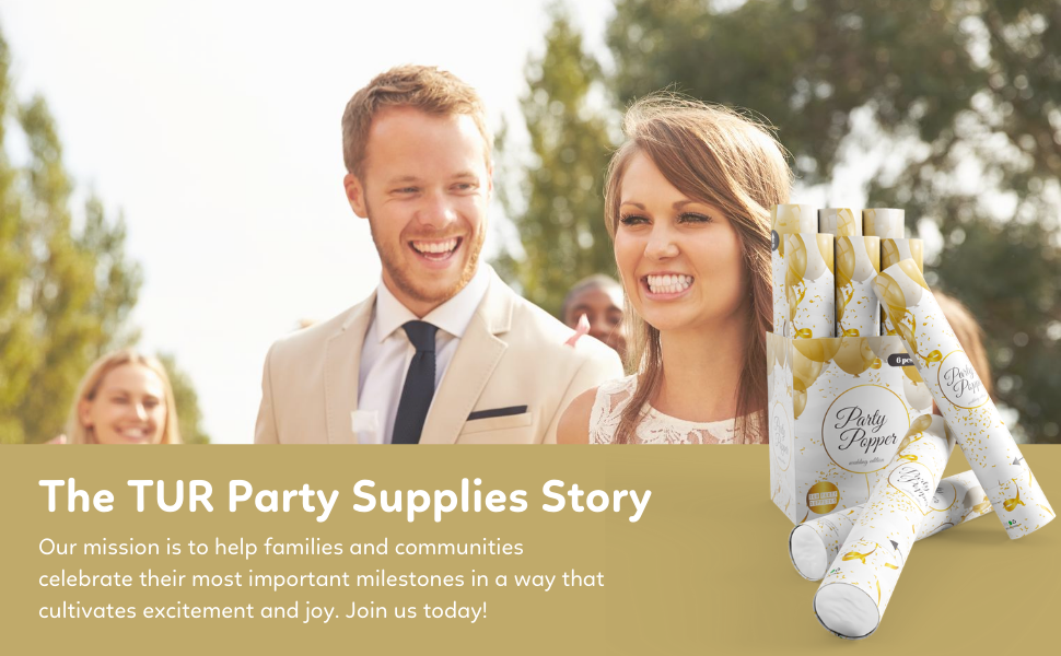 tur party supplies confetti cannons wedding engagement bridge groom family happy