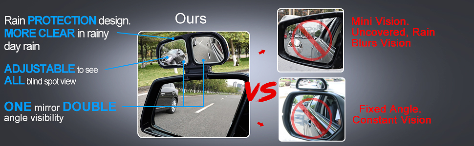 2PCS Blind Spot Mirror Double Glass Adjustable Rear View Blind Spot Mirror Car Auxiliary Wide Angle Mirrors Side-Angle Side-View Mirror for Universal Cars Truck SUV (Left and Right)