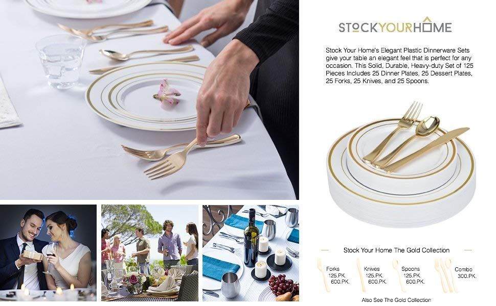 Fancy Disposable Plates with Gold Plastic Silverware - 125 Piece Gold Rim Plastic Party Plates