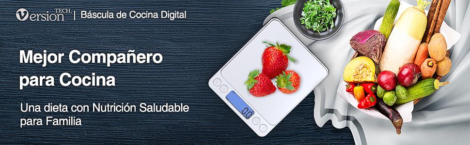 Versiontech Báscula Digital Para Cocina Escala Para Alimentos de 6,6 Lbs/ 3Kg con Plataforma de Acero Inoxidable y Gran Pantalla LCD Balanza Multifuncional Para Cocina de Color Plata Elegante: Amazon.es: Hogar