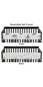 Blue and Grey Jungle Sloth Leaf Unisex Long Front Crib Rail Guard Baby Teething Cover Protector Wrap