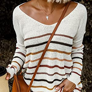 V neck knit blouse sweater
