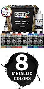 Pouring Masters 8 Color Metallic Pouring Paint Set