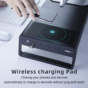 4 PORTS USB 3.0 HUB WITH WIRELESS CHARGING PAD
