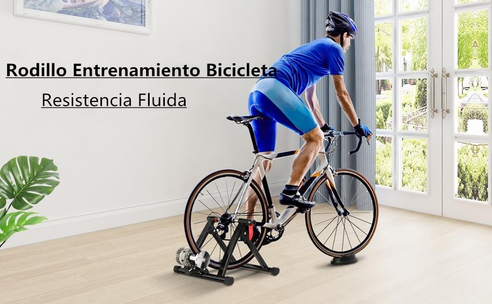 Yaheetech Rodillo de Entrenamiento de Bicicleta Entrenador Bicicleta Resistencia Fluida Ejercicio Soporte: Amazon.es: Deportes y aire libre