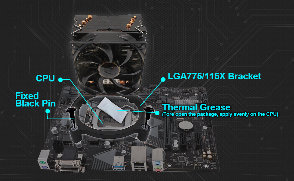 Pccooler S90F Premium CPU Air Cooler with 4 Heatpipes - Super Power CPU  Heatsink - TDP 135w - 92mm PWM Fan Suitable for Mini PC Case, Intel Core