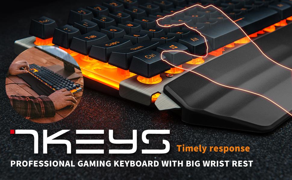 7KEYS Professional Gaming Keyboard With Big Wrist Rest.