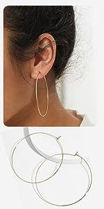 Big Thin Wire Hoop Earrings
