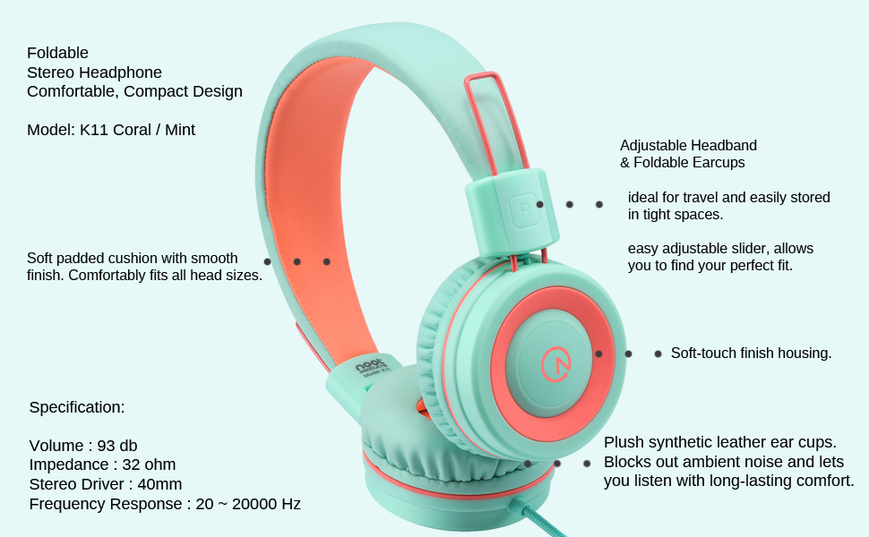 Kids headphones K11 Coral Mint