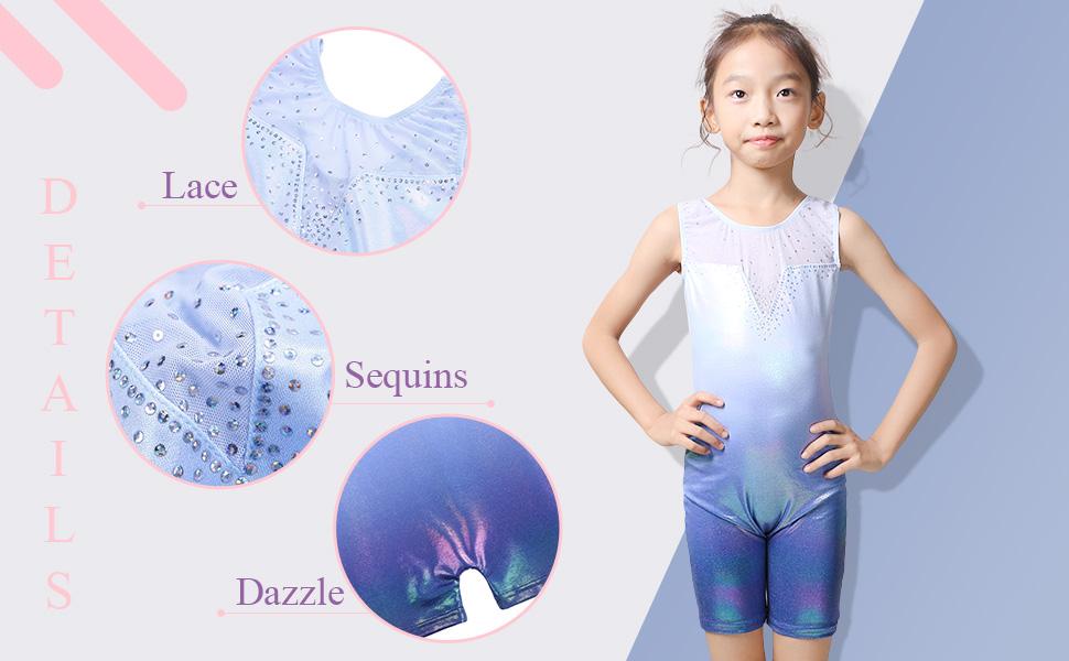 BAOHULU Toddler Girls Gymnastics Leotards Blue Lighting Fancy Sparkle Biketar...