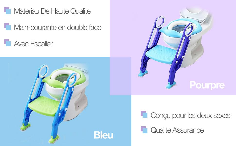 Bleu KEPLIN Si/ège de Toilette Enfant Pliable et R/églable Lunette de Toilette Confortable Mat/ériaux de Haute Qualit/é Reducteur de Toilette B/éb/é avec Marches Larges