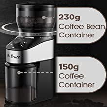 Wide choice of multiple grinding levels (espresso, American coffee, mocha, etc.)