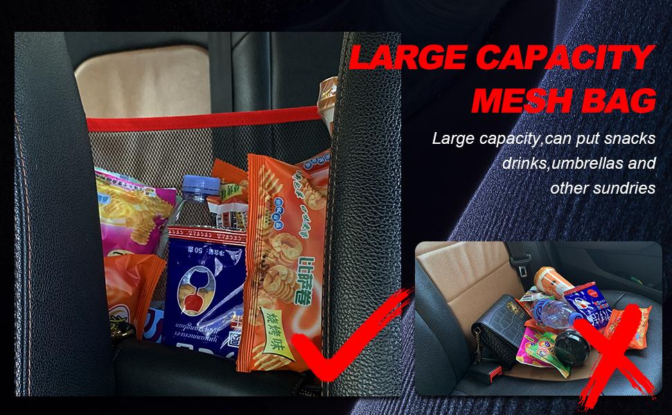 Car Net Pocket Organizer Handbag Holder, Driver Storage Netting Pouch, Car Mesh Organizer, Car Hooks