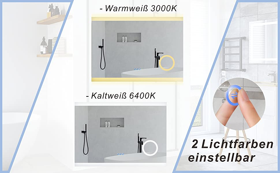 Badezimmerspiegel Beleuchtet LED Spiegel für Bad 100x70cm NIMES Typ C