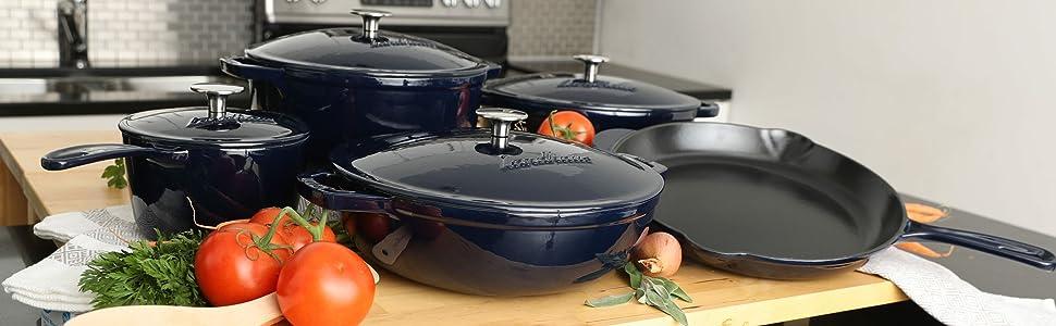 Landhaus cast iron cookware glaze enamel pan pot dutch oven french braiser fry pan skillet sauce