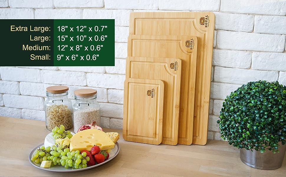 Cutting board set of 4, bamboo cutting boards for kitchen, cutting board wood