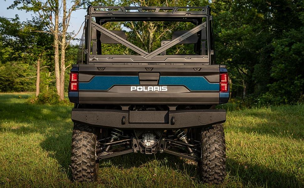 SuperATV Heavy Duty Rear Bumper for Full Size Polaris Ranger XP 1000 // Diesel 1000 // Crew - Wrinkle Black See Fitment Winch Ready!