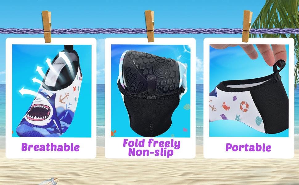 Kids Mermaid Non-Slip Swim Barefoot Beach Aqua Socks AMZTM Girls Water Shoes