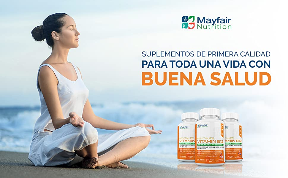 Vitamina B12 con ácido fólico | 200 tabletas de primera calidad de ...