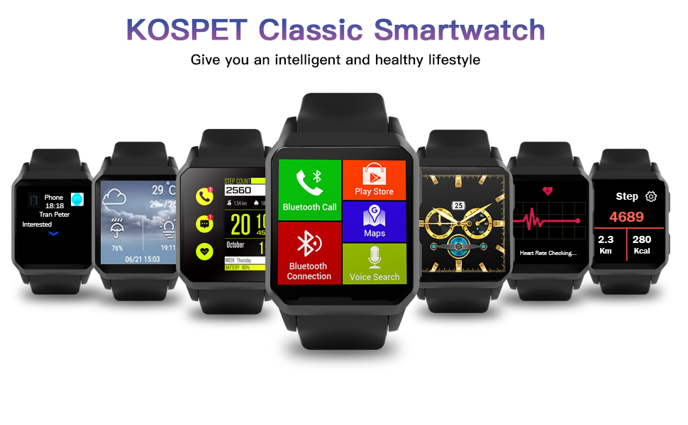 KOSPET Smart Watch, Wi-Fi GPS Fitness Watches with Camera/SIM Card Slot, IP68 Waterproof, Android 5.1 OS, 3G Phone Call Smartwatch with Heart Rate ...