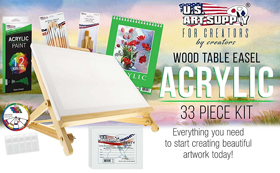 Wood Table Easel Acrylic 33 Piece Kit