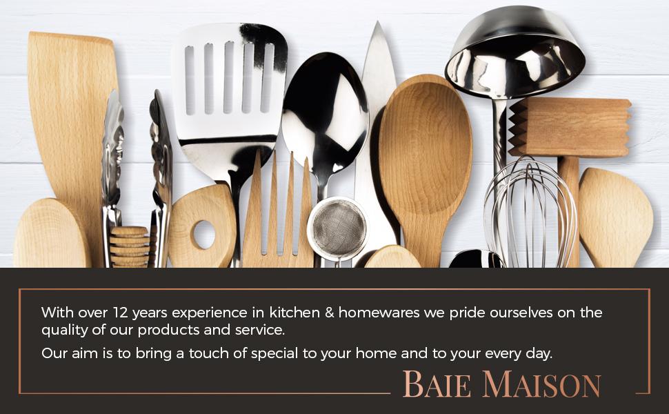 Baie Maison large Farmhouse kitchen utensil storage organizer for countertop cooking utensils jar