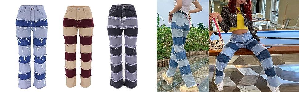 distressed cake patchwork jeans denim pants for women ladies girls