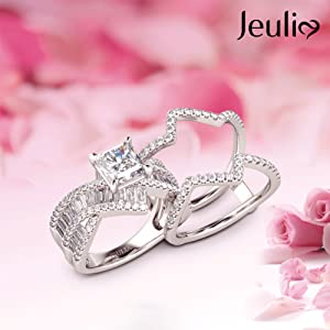 EULIA 2 Carat Princess Cut Wedding Ring Sets for Women Bypass 925 Silver Engagement Rings promise