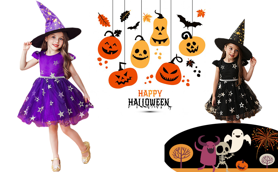 Fashion Star Girls Halloween Witch Pumpkin Spider Swing Dress