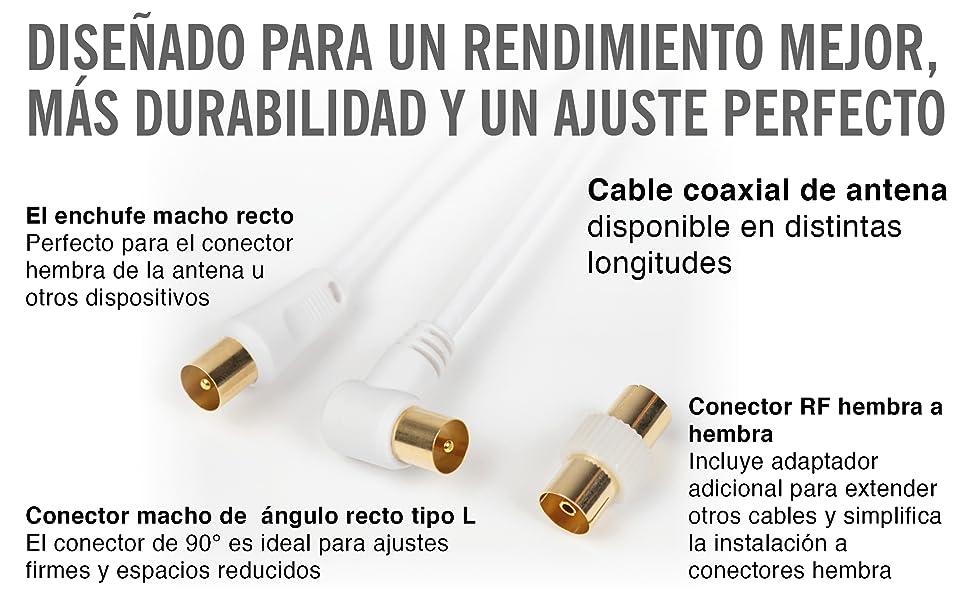 Cable Antena TV 1.5m con Adaptador de Enchufe – Cable Coaxial Satélite – Cable Antena TV, Cable Antena AV Macho a Macho, Extensión Coaxial, Conector RF, Dorado – FreeView/FreeSat/Sky Box: Amazon.es: Electrónica