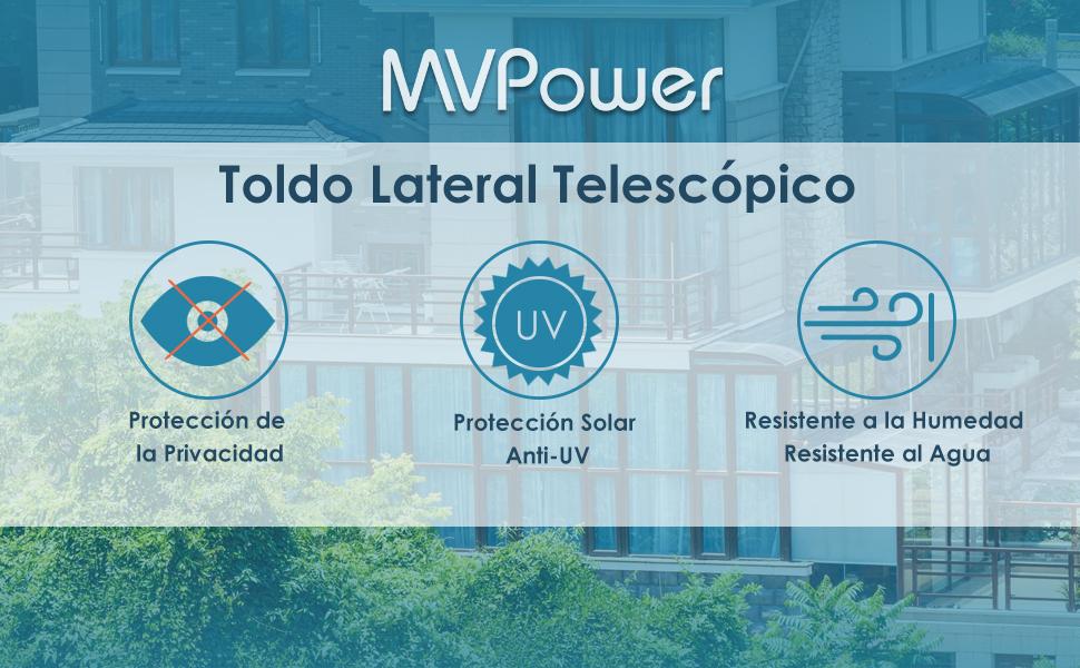 MVPower Toldo Lateral de Aluminio de 300 x 160 cm/180 cm (Largo x ...