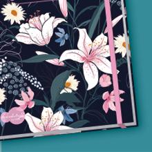 Bullet Journal dotted A5 mit Gummiband Dark Flower von Trendstuff,Notizbuch QQ