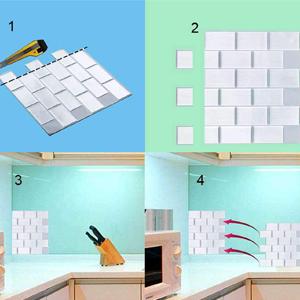 ENCOFT Set da 6 Pezzi 3D Mattonelle Sticker in PU Colla Impermeabile 30.5x30.5cm Crema Piastrelle Adesivi Muro Autoadesivo Adesivi per Piastrelle Bagno Cucina