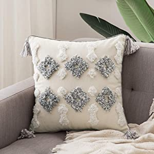lumbar small decorative throw pillow covers for sofa couch bedroom living room woven tufted boho
