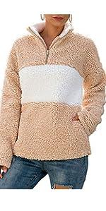 Blusa de Manga Larga Sueter con Cuello en V y Algod/ón de Color S/ólido para Mujer Ropa de Mujer en Oferta Sudaderas Mujer