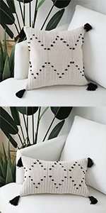 tribal tassels throw lumbar pillow cover geometric boho morocco