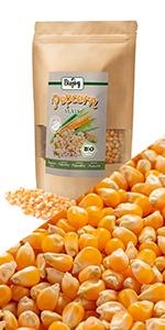 popcorn puff mais biologisch pitten zaden tussendoortje rauw niet gebakken zoutvrij zonder suiker
