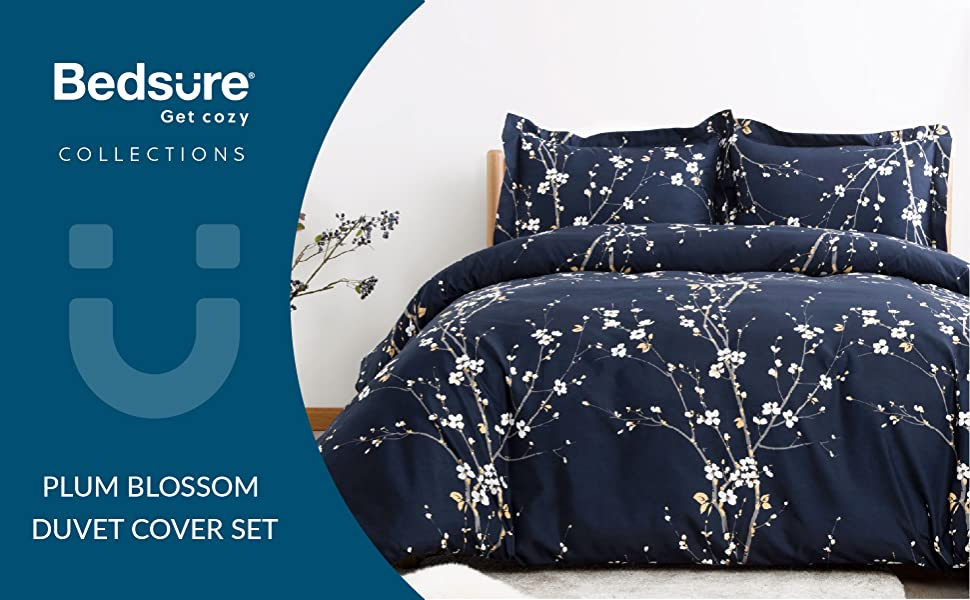 get cozy with the Bedsure Duvet Cover Set - Spring Bloom Navy