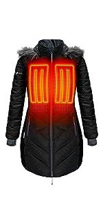 5V Heated Long Puffer Jacket