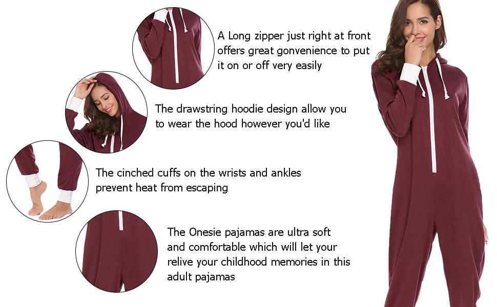 Ekouaer Footless Adult Onesies | One-Piece Pajama Jumpsuits for Women