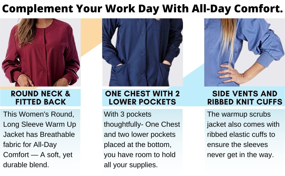 womens long sleeve warm up scrubs jackets