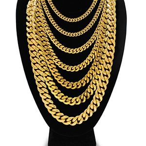 gold cuban link necklace bracelet set
