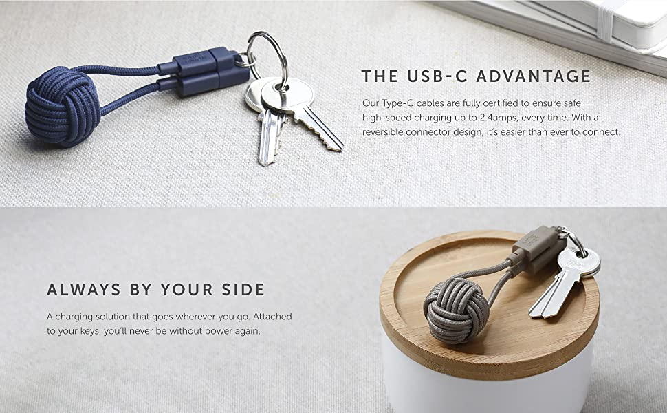 Native Union Key Cable USB A to USB C Type C Device Key Chain charging ultra strong