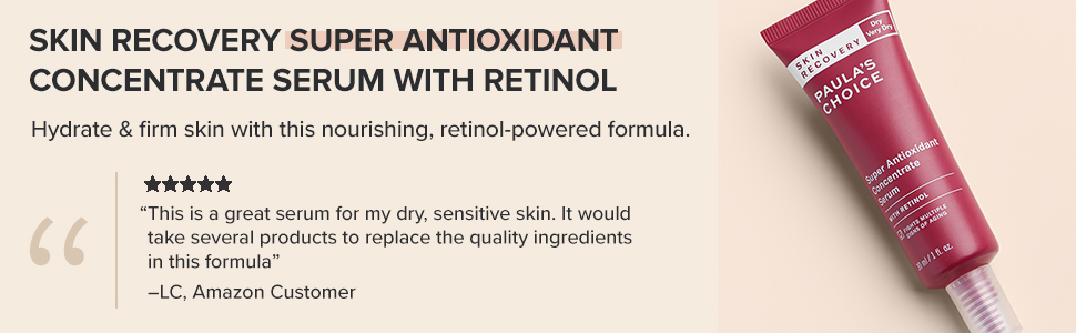 Paula's Choice Antioxidant Retinol Serum provides hydration, brightens, and prevents signs of aging.
