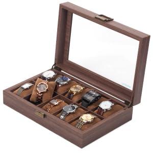 Scatola per orologi in legno con 10 griglie
