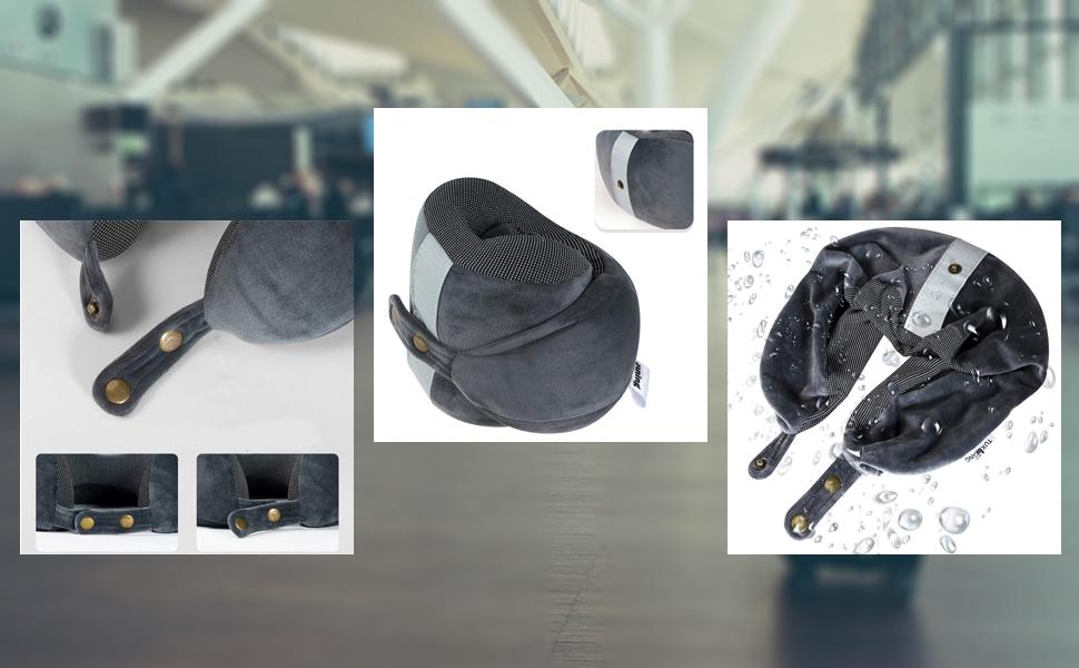 Juning Almohadas de memoria de viaje, suave y cómodo, hecho de esponja, adecuado para oficinas, aviones, viajes (memoria)