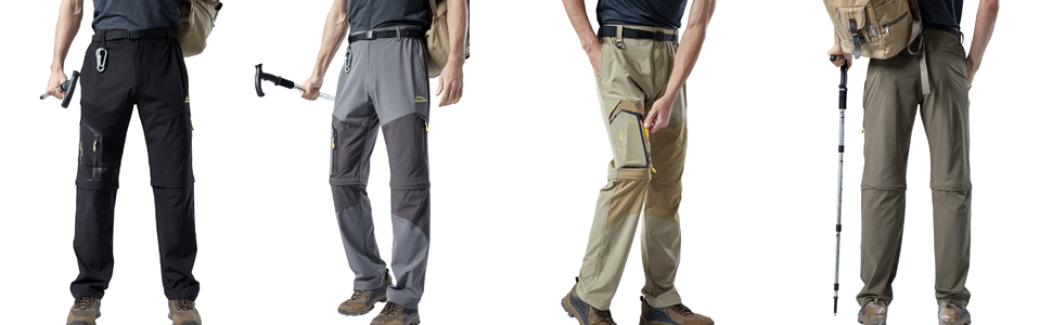 Men's Summer Convertible Pants Quick Dry Lightweight Fishing Pants Tactical Stretch Cargo Pants