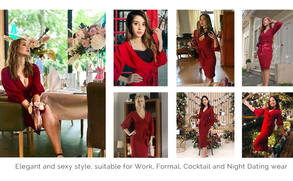 elegant red belted dress