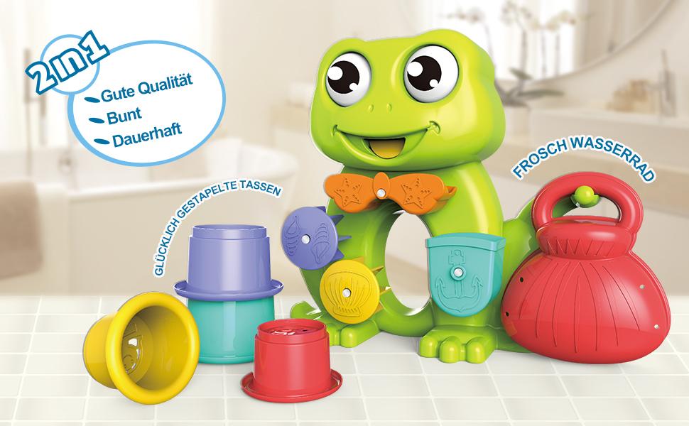 GizmoVine Badespielzeug Boote Badewannenspielzeug Set Schwimmendes Poolspielzeug Wasserspielzeug Babyspielzeug f/ür Jungen und M/ädchen Frosch
